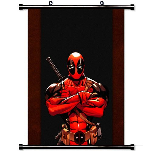 Wall Scroll Poster with Deadpool Comics Red Wade Wilson Marvel Band Home Decor Wall Posters Fabric Painting 23.6 X 35.4 Inch (Cool Posters Marvel compare prices)