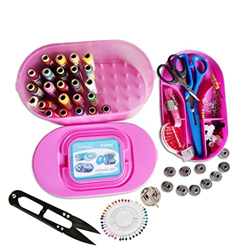 Kurtzy-Sewing-Kit-Includes-Needle-Threader-Trimmer-Threads-Needles-Bobbin-Case-Bobbins-9-Scissors-And-Other-Accessories