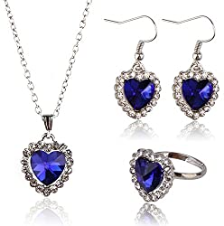 Sorella'z Titanic Heart of Ocean Blue Pendant Necklace, Earrings, Ring Set