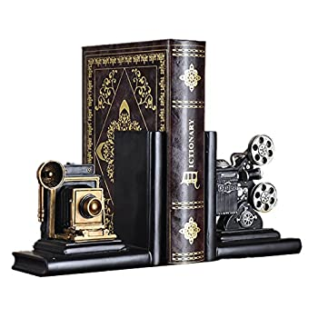 HEYFAIR Retro Camera Bookends Racks Book Ends Sets Bookshelf Organizers(1 pair)