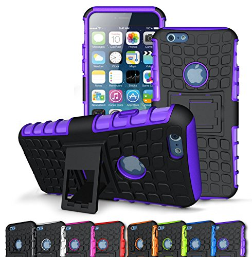 Iphone 6 Case, Big Gadget Series Pc/Tpu Hybrid Armor Bumper Military Case Dual Layer(Flexible Tpu + Hard Pc)Slim Fit Shock Absorbent For Apple Iphone 6 4.7(Noble Purple)