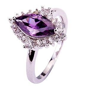 Yazilind Women's Ring with Marquise Cut Amethyst White Topaz Gemstone Silver UK Size O