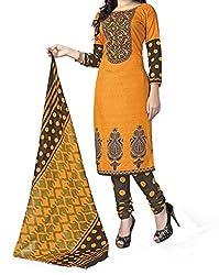 Look Smart Women's Polycoton Unstitched Dress Material (HOLIKA PRINT_Orange_Free Size)