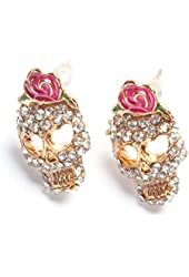 Cz Crusted Skull Pink Flower Flowers Rose Stud Earrings Gift Boxed