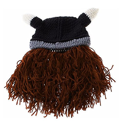 VANKER Men Miracle Handmade Viking Crochet Bearded Knitted Mask Horn Hat Coffee