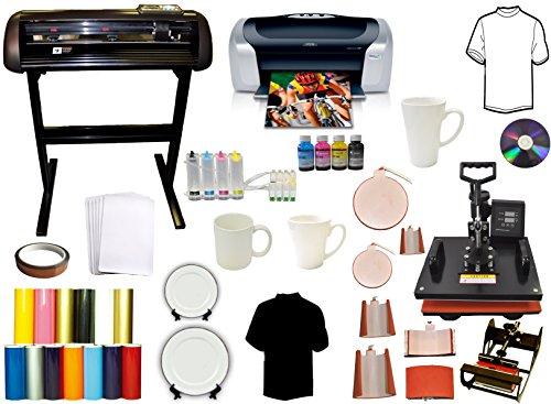 8 in 1 Combo Heat Press,Vinyl Cutter Plotter,Printer,CISS,Mug Ink,Paper Bundle (Vinyl Printer Cutter Combo compare prices)