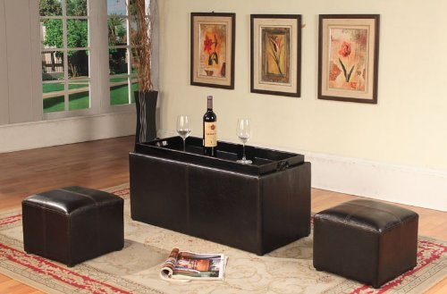 Faux Leather Storage Bench Coffeetable with 2 Ottomans, Espresso
