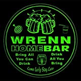 4x ccq49096-g WRENN Family Name Home Bar Pub Beer club Gift 3D Coasters