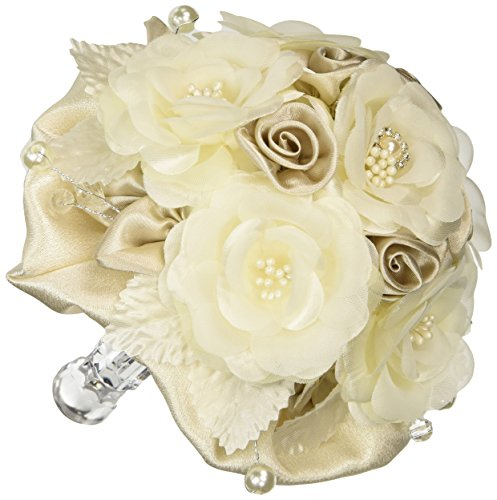 Lillian Rose Rose Bouquet, 6-Inch, Taupe