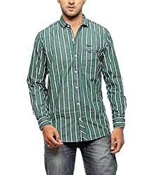 Groove Men Cotton Green Casual Shirt (X-Large)
