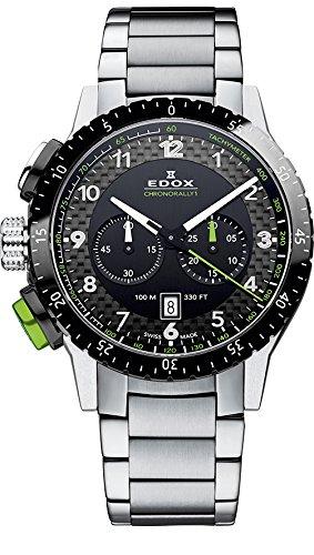 Unisex-reloj Chrono EDOX Rally{1} analógico de cuarzo de acero inoxidable 10305 3NVM NV