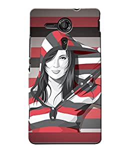Fuson Multi lines Pattern Girl Back Case Cover for SONY XPERIA SP - D3880