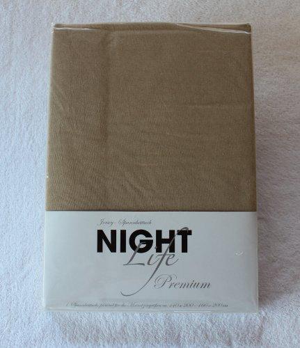 NightLife Jersey Spannbettlaken Farbe sand beige Größe 180 x 190 bis 200 x 200 cm Spannbettuch Spannlaken mit Rundumgummi 100% Baumwolle