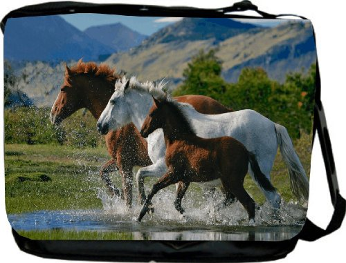 Horse Family Design Messenger Bag - Laptop Bag ***with matching coin purse wallet*** -School Bag - Reporter Bag - Unisex - Ideal Gift for all occassions!