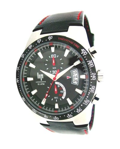 Lip Style 1059712 Men's Chronograph Black Leather Strap Watch