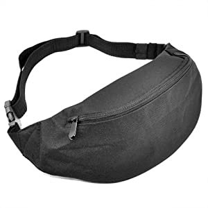 Outdoortips HOT Bum Bag Waterproof Monney Pouch Belt- Fanny Pack Purse Hip Wallet (Black)