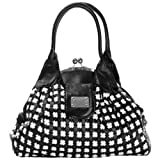 Chic Black / White Cross Woven Weave Kiss Clasp Framed Leatherette Satchel Hobo Shoulder Bag Handbag Purse