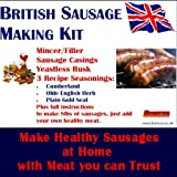Bonzza British SAUSAGE MAKING KIT with Meat Mincer Grinder Stuffer, Sausage Skins, Seasonings & Yeastless Rusk in a Boxed Set makes up to 8lbs of virtually SALT FREE sausages Cumberland, Olde English, Plain with added meat. Now with Pasta Making attachments to make your own Macaroni, Tagliatelle and Spaghetti. An Ideal Father's Day or Birthday Gift.