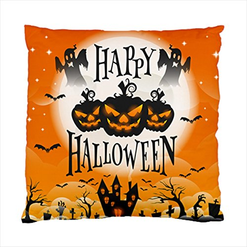 happy halloween ghosts pumpkins orange background Square Throw Pillow Case Cushion Cover 17 x 17 ()