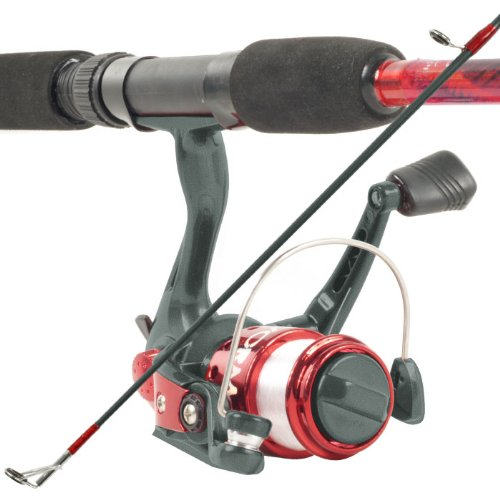 South Bend Worm Gear Fishing Rod and Spinning Reel Combo, Red
