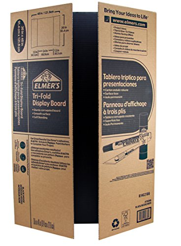 Elmer's Corrugated Tri-Fold Display Boards, 36 x 48 Inches, 1-Ply, Black Inside/Kraft Outside, 6-Count (J730305) (Foam Presentation Board compare prices)