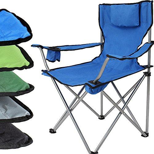 Miadomodo Sedia da campeggio camping giardino pieghevole con poggiatesta 52/50/82 cm colore blu