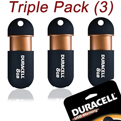 Duracell Capless USB 2.0 Flash / Key Drive - 8GB - MEGA VALUE 3 PACK from Duracell