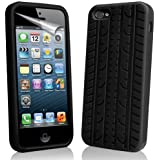 Leegoal(TM) Black Tyre Tread Silicone Rubber Soft Case Cover fit for the new iPhone 5 5S With Accessories Sreen Protector,Anti Dust Plug