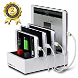 Avantree Desktop Multiple Devices USB Charging Station, 4 Port 4.5A Fast Charger Docking with Cable Management for iPhone iPad Tablets - PowerHouse