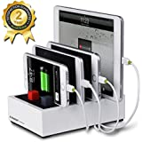Avantree Multiple Devices Charger & Charging Station Docking 2-in-1 with Cord Organizer, For Smartphones & Tablets - Powerhouse White