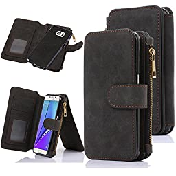 Galaxy Note 5 Case, CaseUp 12 Card Slot Series - [Zipper Cash Storage] Premium Flip PU Leather Wallet Case Cover With Detachable Magnetic Hard Case For Samsung Galaxy Note 5, Black