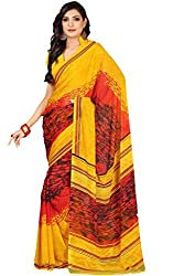 Suchi Fashion Yellow and Red Art Silk Printed Saree.
