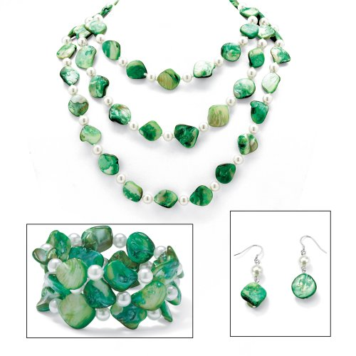 Angelina D'Andrea - Silver Tone Green Shell & Simulated Pearl Necklace, Bracelet & Earring Set