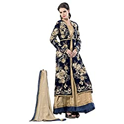 Yes Fashions Women's Party wear Cream Shimmer Semi Stitched Salwar Suit