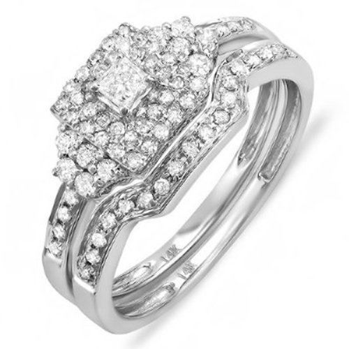 0.55 Carat (ctw) 14k White Gold Princess & Round Diamond Ladies Bridal Engagement Ring Set with Matching Band...