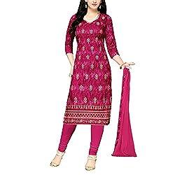Applecreation Magenta Cambric dress materials for women