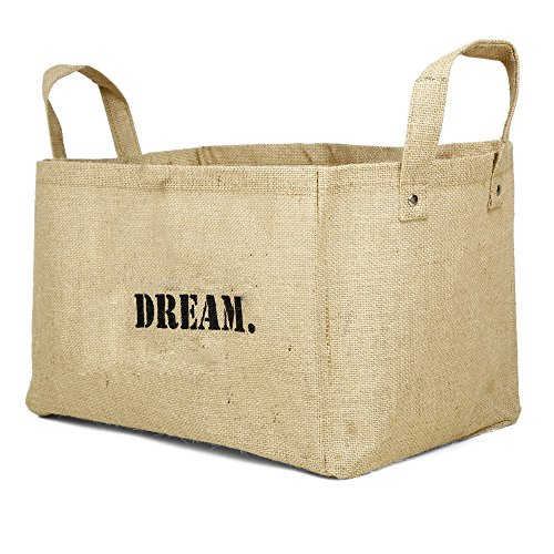 Jute storage baskets kids storage containers baby closet organizer toy storage bins cube storage box (DREAM (V2)) (Baby Fabric Baskets compare prices)