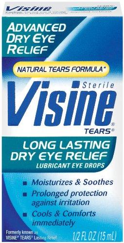 Visine Tears Lubricant Eye Drops - Long Lasting Dry Eye Relief,  0.5-Ounce (Pack of 2)