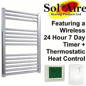 600 x 800 mm Straight Chrome Electric Heated Towel Rail + Wireless Digital Timer. 200W 200 Watts. Prefilled and Sealed. IP67