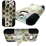 myLife Beige White + Colorful Owls {Modern Design} Two Piece Neo Hybrid (Shockproof Kickstand) Case for the All-New... by myLife Brand Products