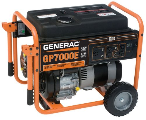 Generac 5626 GP7000E 8750-Watt 410cc OHV Portable Gas Powered Generator with Electric Start