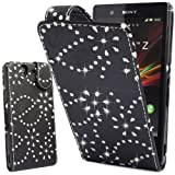 Connect Zone®SONY XPERIA M C1905 STYLISH CRYSTAL BLACK DIAMOND BLING LEATHER FLIP CASE COVER POUCH