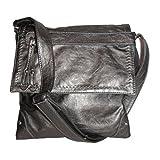 Stitched Flap Cross-body Handbag (Dark Silver)