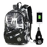(オマン)WO MAN WEI SI オックスフォードバッグ 登山用リュック サック 大容量 旅行 通勤 通学 多機能バッグ USBポート付き (Style3)