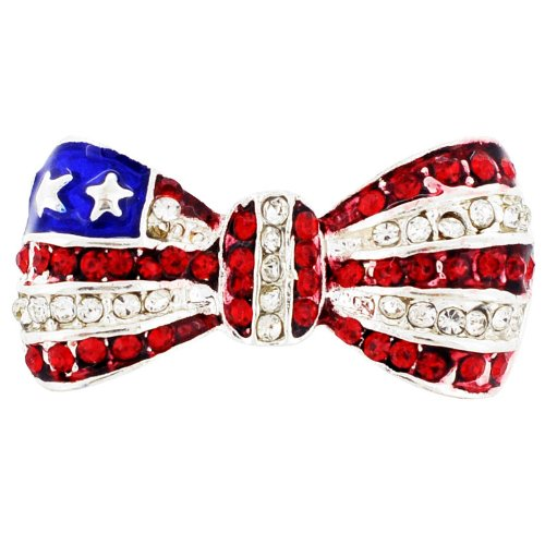 Ruby American Flag Bowknot Tag Pin Fashion Pin