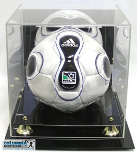 DELUXE UV PROTECTED SOCCER BALL DISPLAY CASE W/ MIRROR (Gold Ball Display compare prices)