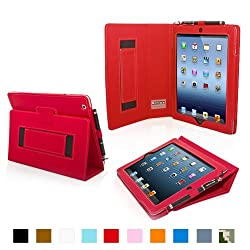 Snugg iPad 4 & iPad 3 Case - Leather Case Cover and Flip Stand with Elastic Hand Strap and Premium Nubuck Fibre Interior (Red) - Automatically Wakes and Puts the iPad 4 & 3 to Sleep. Superior Quality Design as Featured in GQ Magazine