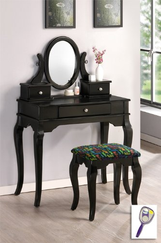 New Black Finish Wooden Make Up Vanity Table with Mirror & Beatles Rainbow Logo Themed Bench