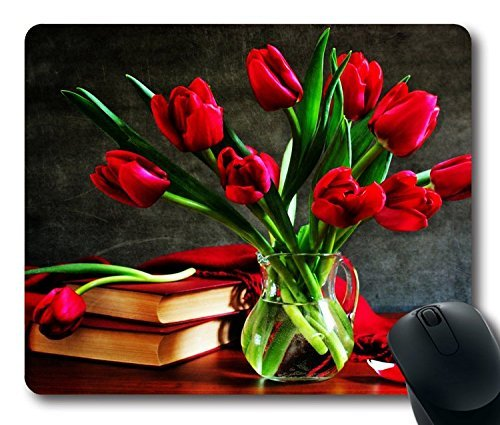 HOHP-vintage-Mouse-Pad-with-red-tulips-in-a-vase-on-the-table-wallpaper-Neoprene-Rubber-Standard-Size-9-Inch220mm-X-7-Inch180mm-X-183mm
