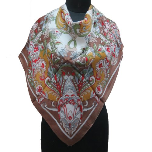 Floral 100 Pure Silk Scarf Women Wear Shoulder Neck Tie Brown Scarves  Neck Scarf Tying For Women